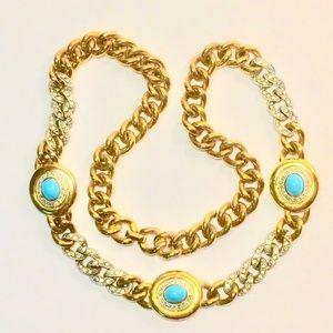 Vtg Kenneth Lane Gold Tone Crystal Chain Necklace